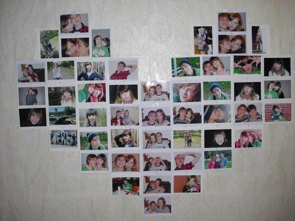 Сердце из фотографий - это и подарок на День влюбленных, и украшение интерьера дома